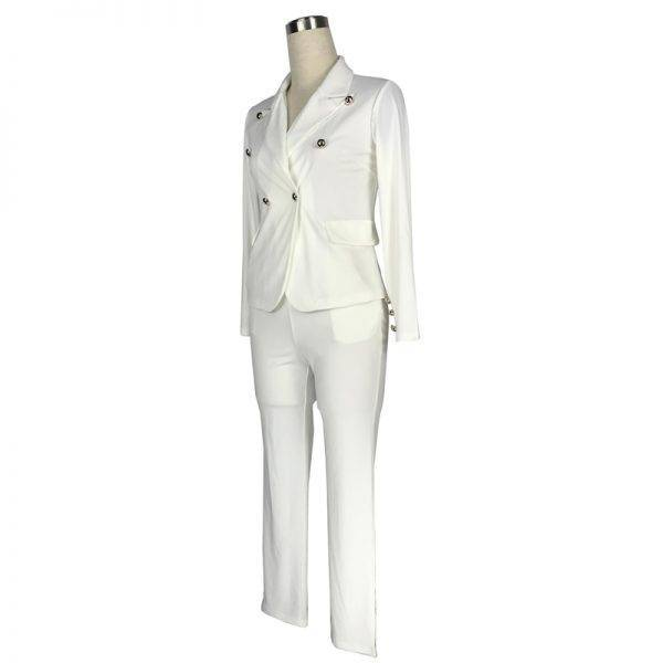 2019 Work Pant Suit OL 2 Piece Set for Women Business Interview Suit Set Uniform Blazer Pencil Pant Office Lady Suit Black White Pant Suits WOMEN'S FASHION