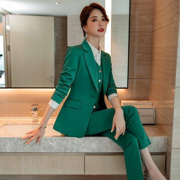 Green Red Blue 3 Piece Set High Quality Women Formal Pant Suit Office Lady Uniform Design Business Jacket and Pant for Work Wear Pant Suits WOMEN'S FASHION