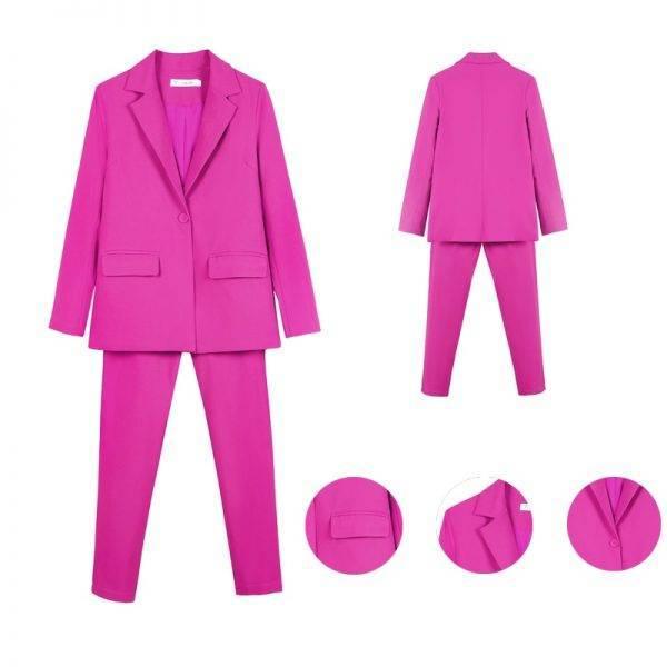 Work Pant Suits OL 2 Piece Set for Women Business interview suit set uniform smil Blazer and Pencil Pant Office Lady suit Pant Suits WOMEN'S FASHION