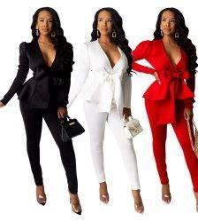 two piece set women office long sleeve women's suit winter 2 piece set female bandage two pieces sets Pant Suits WOMEN'S FASHION