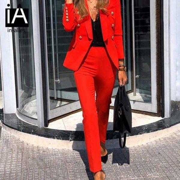 Autumn Winter Thicken Women Pant Suit Red Blazer Jacket & Pant 2020 Office Wear Women Suits Female Sets Pant Suits WOMEN'S FASHION