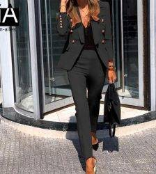 Autumn Winter Thicken Women Pant Suit Red Blazer Jacket & Pant 2020 Office Wear Women Suits Female Sets Pant Suits WOMEN'S FASHION