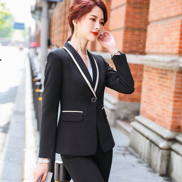 New Arrival Women Formal Pant Suit Gray Black Red White Solid One Button Work 2 Piece Set Office Blazer And Full Length Trousers Pant Suits WOMEN'S FASHION