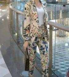 2020 New Spring Autumn Women Elegant Blazer Feminino Women Floral Long Sleeve Blazer Suit Office Ladies Two Piece Sets T06 Pant Suits WOMEN'S FASHION