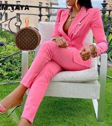 CM.YAYA Autumn Winter Streetwear Women's Set Long Sleeve Blazer Pants Suit Office Lady Tracksuit Two Piece Set Fitness Outfits Pant Suits WOMEN'S FASHION
