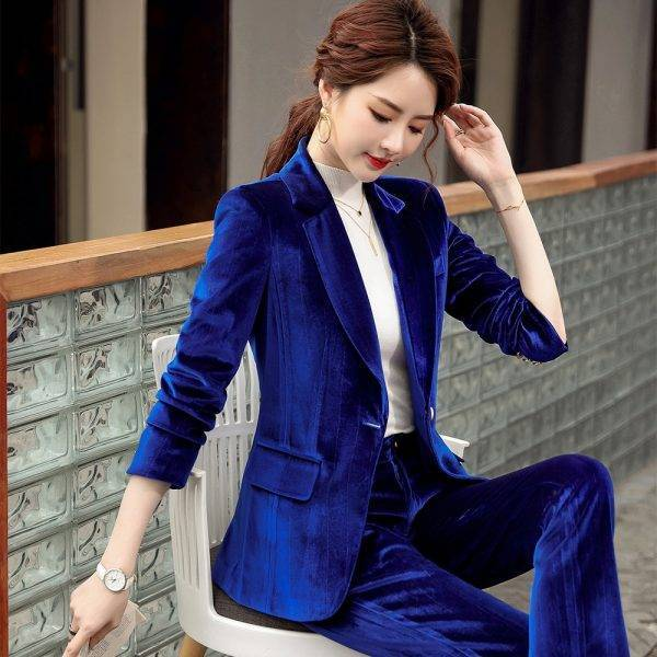 Fall Autumn Winter Long Sleeve Blazer and Pant Suit Ladies Women New Arrival Casual 2 Piece Set Green Black Red Purple Blue Pant Suits WOMEN'S FASHION