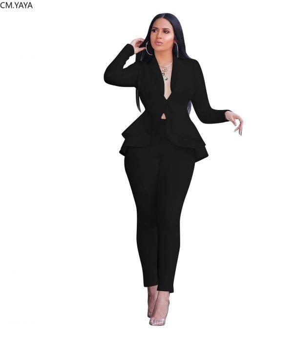 Women Winter Women's set Tracksuit Full Sleeve Ruffles Blazers Pants Suit Two Piece Set Office Lady business wear uniform GL610 Pant Suits WOMEN'S FASHION