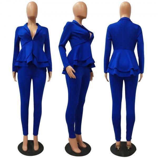 two piece set women office female 2 piece set for women long sleeve suit pants two pieces sets winter women's suits Pant Suits WOMEN'S FASHION
