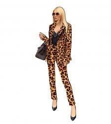 Autumn Winter Tracksuits Leopard Print Full Sleeve Blazers Pants Suit Two Piece Set Office Lady Uniform Work Women's Set 7042 Pant Suits WOMEN'S FASHION
