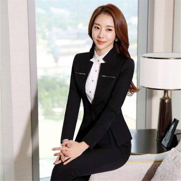 Formal Pant Suits Women Office Lady 2 Piece Set Pants Blazer Female Business Work Trousers Jacket Elegant Uniform Plus Size 2020 Pant Suits WOMEN'S FASHION