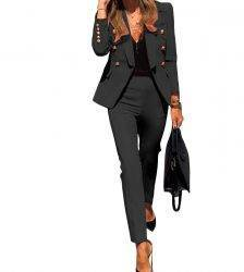 2020 Winter Women Set Notched Full Sleeve Blazers Pencil Pants Suit Office Lady Two Piece Set Tracksuits Casual Outfits GL806 Pant Suits WOMEN'S FASHION