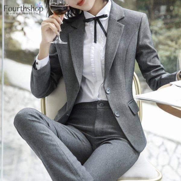 2020 Spring Formal Pant Suits for Women Office Lady Uniform Business Work Blazer Set Professional Pantsuits Female Plus Size 4XL Pant Suits WOMEN'S FASHION