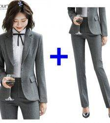 2020 Spring Formal Pant Suits for Women Office Lady Uniform Business Work Blazer Set Professional Pantsuits Female Plus Size 4XL Pant Suits WOMEN'S FASHION