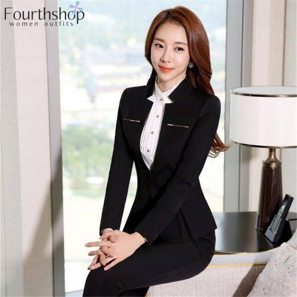 Women Formal Suits Office Lady Work Wear Uniform Design Autumn Winter Pants Blazer Set Fashion Plus Size Jacket Suit Female 2020 Pant Suits WOMEN'S FASHION