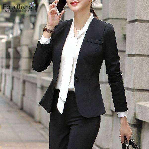 Elegant Women Pant Suits Formal Uniform Office Lady Business Work Jacket Suit Female 2 Piece Pants Blazer Set Plus Size 4XL 2019 Pant Suits WOMEN'S FASHION