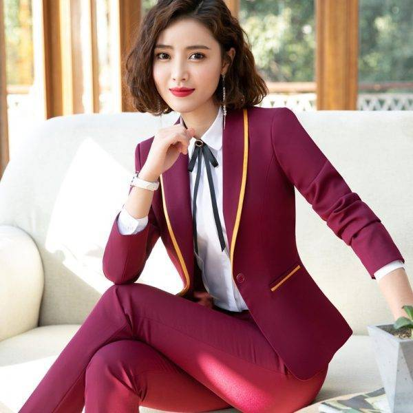 Naviu New Fashion Business Interview Women Pants Suit Office Ladies Long Sleeve Slim Formal Blazer and Trousers Plus Size Set Pant Suits WOMEN'S FASHION