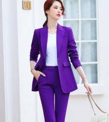 Purple Belt Women Winter Suit Slim Temperament Long Sleeve Blazer and Pants Office Ladies Fashion Business Work Wear Pant Suits WOMEN'S FASHION