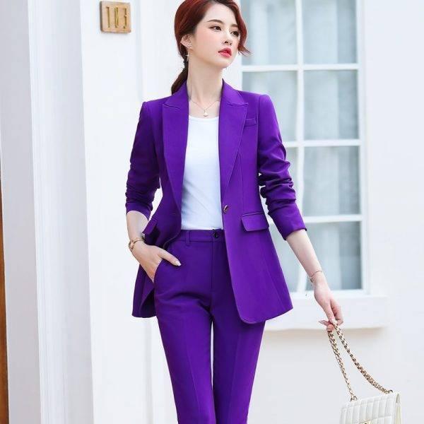 Purple Belt Women Winter Suit Slim Temperament Long Sleeve Blazer and Pants Office Ladies Fashion Business Work Wear Pant Suits WOMEN'S FASHION