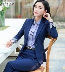 Office Work Pant Suits for Women Business Lady Professional Uniforms 2 Piece Formal Pants Blazer Set Plus Size Fashion 2020 4XL Pant Suits WOMEN'S FASHION