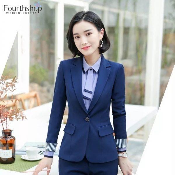 Office Work Pant Suits for Women Business Lady Professional Uniforms 2 Piece Formal Pants Blazer Set Plus Size Fashion 2020 4XL Pant Suits WOMEN'S FASHION