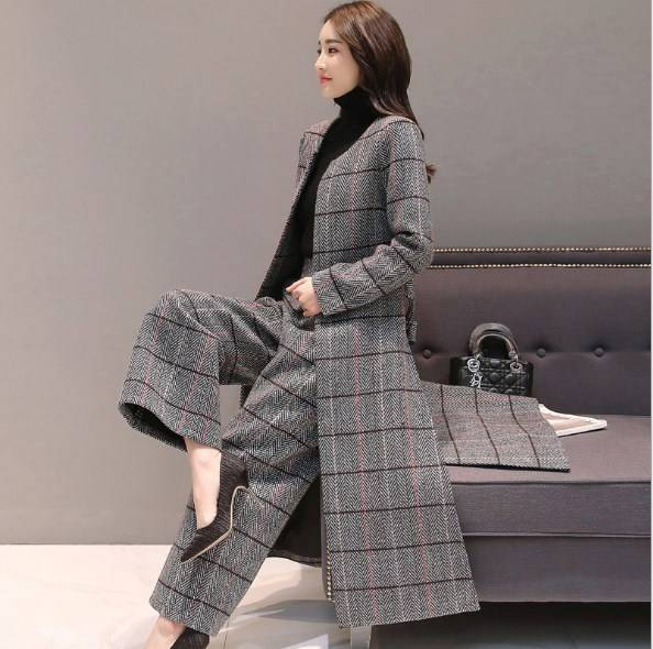 Knee Length Long Trench Coat and Wide Leg Trouser Autumn Winter Womens Casual Pantsuit Office Lady Plaid Two-piece Pants Suits Pant Suits WOMEN'S FASHION