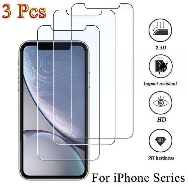 3PCS Protective glass on iphone 11 12 Pro XS Max XR 7 8 plus screen protector Tempered glass For iphone 12 Mini 11 Pro Max glass Cell Phones & Accessories Mobile Phone