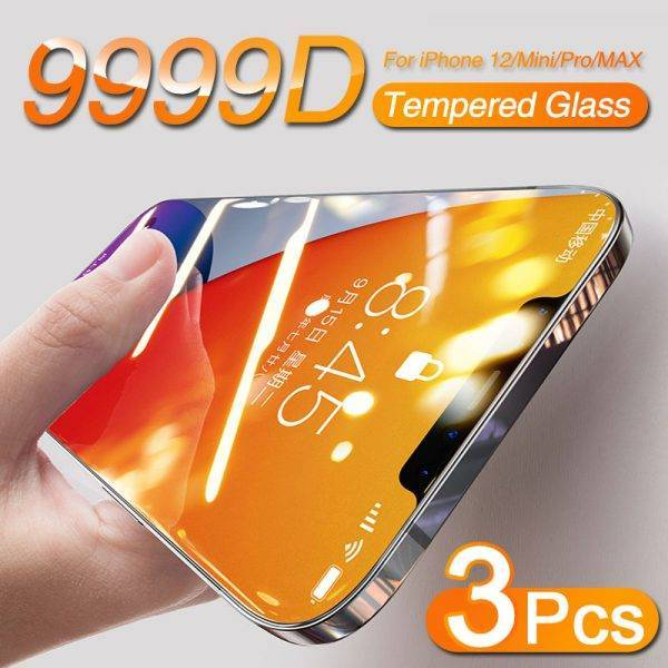 3Pcs Full Cover Tempered Protective Glass For iPhone 11 12 Pro Max Mini X XR XS MAX Screen Protector On iPhone 7 8 Plus SE 2020 Cell Phones & Accessories Mobile Phone