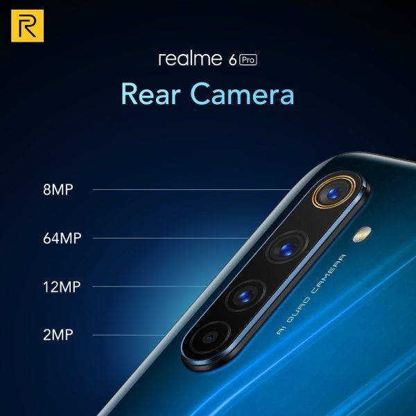 Realme 6 Pro Mobile Phone 6.6inch 90Hz Display 64MP Cam 8GB 128GB Snapdragon 720G Smartphone Cellphone Android Phone Telephones Mobile Phone