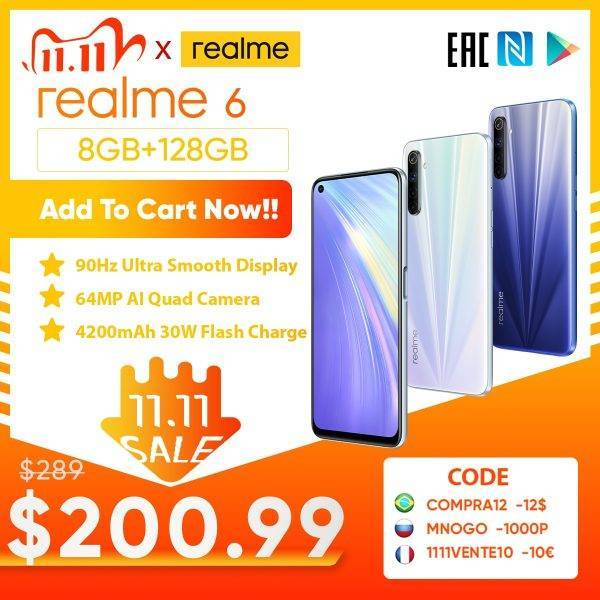 realme 6 8GB RAM 128GB ROM Global Version Mobile Phone 90Hz Display Helio G90T 30W Flash Charge 64MP Camera 4300mAh Cellphone Mobile Phone