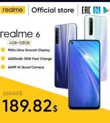 realme 6 NFC Global Version 4GB 128GB Mobile Phone 90Hz Display Helio G90T 30W Flash Charge 64MP Camera Telephone Android Phones Mobile Phone