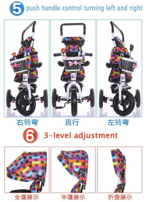 2 In 1 Baby Tricycle Stroller Three Wheels Stroller Baby Carriage Pram Toddler Child Tricycle Bicycle Jogging Stroller Buggies BABY Strollers & Accessories