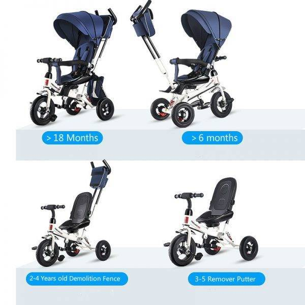 4 In 1 Infant Tricycle Folding Rotating Seat Baby Stroller 3 Wheel Bicycle Kids Bikes Three Wheel Stroller Baby Trolley 6M-6Y BABY Strollers & Accessories