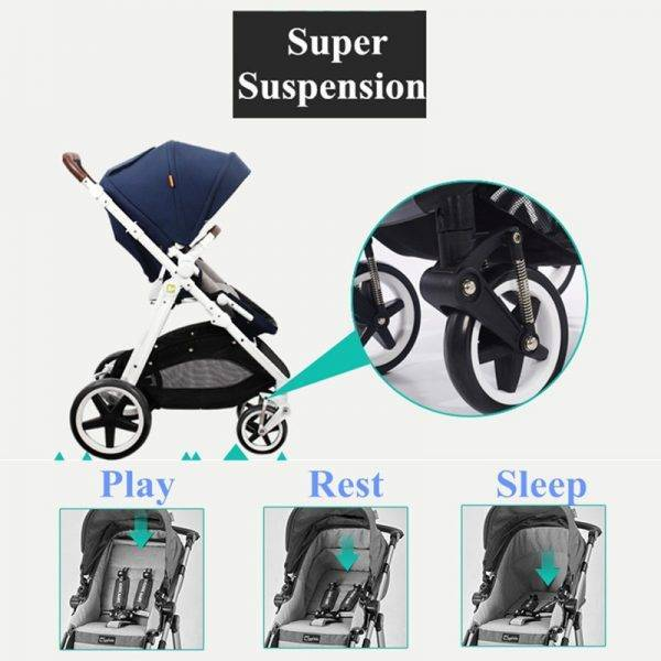 Travel System Baby Stroller, High-view, Suspension, Folding, Bidirectional, Portable Baby Pram Whole Set, Sit & Lie Down BABY Strollers & Accessories