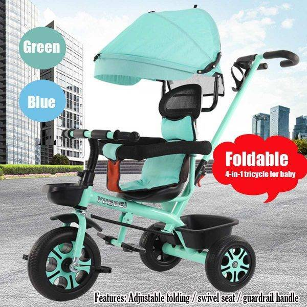 4 In 1 Infant Tricycle Folding Rotating Seat Baby Stroller 3 Wheel Bicycle Kids Bike Three Wheel Stroller Toddler Baby Trolley BABY Strollers & Accessories