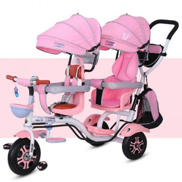 4 in 1 Twin Tricycle Baby Double Bicycle Twin Baby Tricycle 1-7 Years Old Baby Stroller 3 wheel Trike BABY Strollers & Accessories