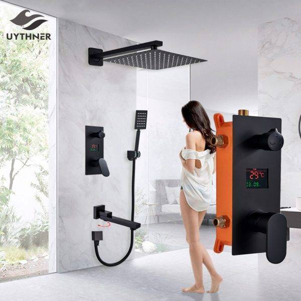 Bathroom Shower Faucet 3-Functions Matte Black Digital Shower Faucets Set Rainfall Shower Head 3-way Switch Shower Set Mixer Tap Plumbing