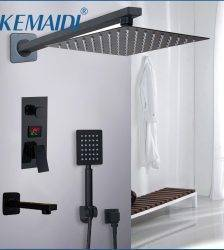 KEMAIDI Bathroom Shower Faucet 3-Functions Black Digital Shower Faucets Set Rainfall Shower Head 2-way Digital Display Mixer Tap Plumbing