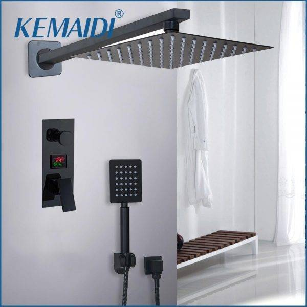 KEMAIDI Bathroom Shower 2-Functions Black Digital Shower Faucets Set Rainfall Shower Head 2-way Digital Display Mixer Tap Plumbing