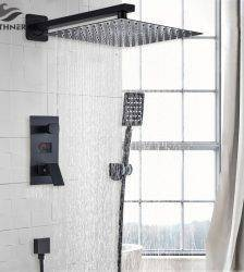Bathroom Shower 2-Functions Black Digital Shower Faucets Set Rainfall Shower Head 2-way Digital Display Mixer Tap Shower Mixer Plumbing