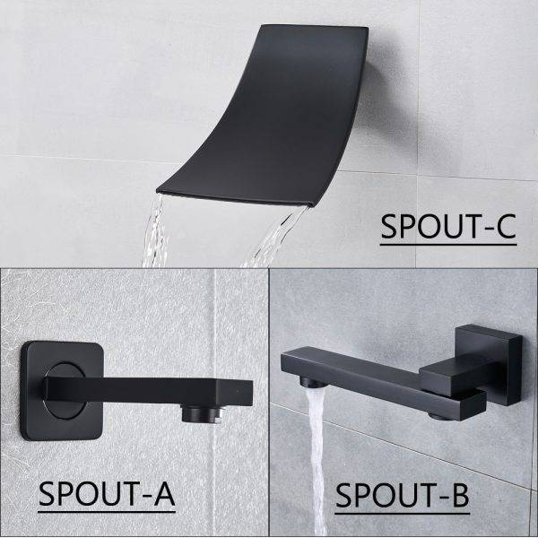 Matte Black Bathroom Shower Faucet Set Digital Display Rain Black Bath Shower System Waterfall Shower Bathtub Mixer Tap Plumbing