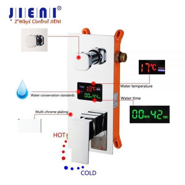 JIENI Chrome Polished Bathroom Shower Faucet Ceiling Mount Rainfall Shower Head 3 Funcs Digital Display Mixer Shower Faucet Set Plumbing