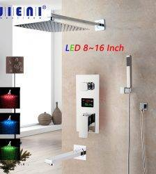 JIENI Chrome Polished Bathroom Shower Faucet Wall Mount Rainfall Shower Head 3 Functions Digital Display Mixer Shower Faucet Set Plumbing