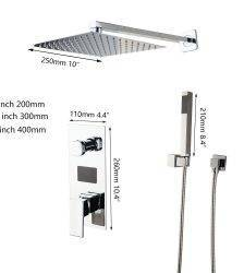 KEMAIDI Chrome Finished LED Shower Head Digital Display Mixer Taps Bathroom Shower Faucet 2-Functions Digital Shower Faucets Set Plumbing