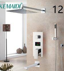 KEMAIDI LED Shower Head Digital Display Mixer Taps Chrome Brass Bathroom Shower Faucet 3-Functions Digital Shower Faucets Set Plumbing