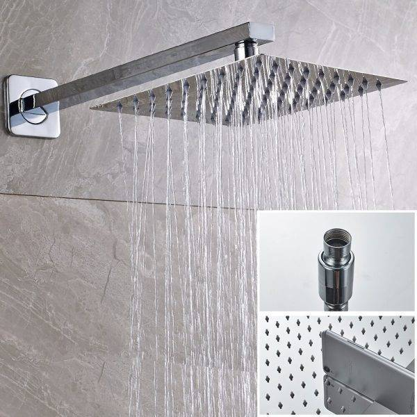 "SHBSHAMIY Chrome Bathroom Shower Faucet Set Wall Mounted 8 10 12 16"" Rainfall Shower Head With Digital display Easy Install Plumbing"