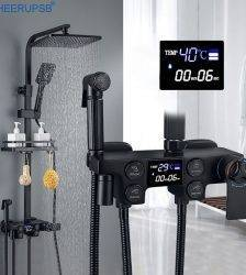 Black Shower Set Bathroom LED Digital Shower System Hot Cold Mixer Thermostatic Bath Faucet Square Head SPA Rainfall Copper Tap Plumbing