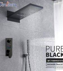 Senlesen Black Shower Faucet Digital Screen Valve Wall Mount Shower Head W/ Hand Para Bathroom Shower Sets Plumbing