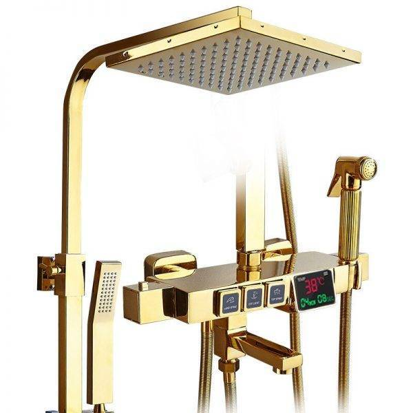 Digital black shower set thermostatic bath mixer bathroom shower set Gold Bathtub faucet with display digital shower set White Plumbing