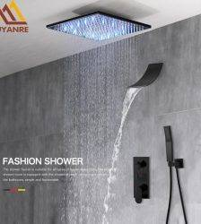Matte Black Concealed Shower Faucet Set Rain Waterfall Shower System 3-way Digital Display Shower Mixer Tap Bathroom Shower Tap Plumbing