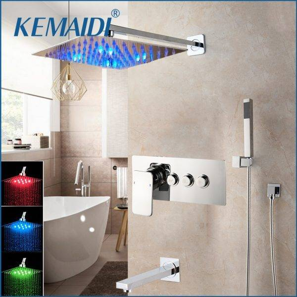 KEMAIDI Solid Brass LED Shower Mixer Bathroom Bathtub Taps Bathroom Shower Faucet 3-Functions Digital Shower Faucets Set Plumbing